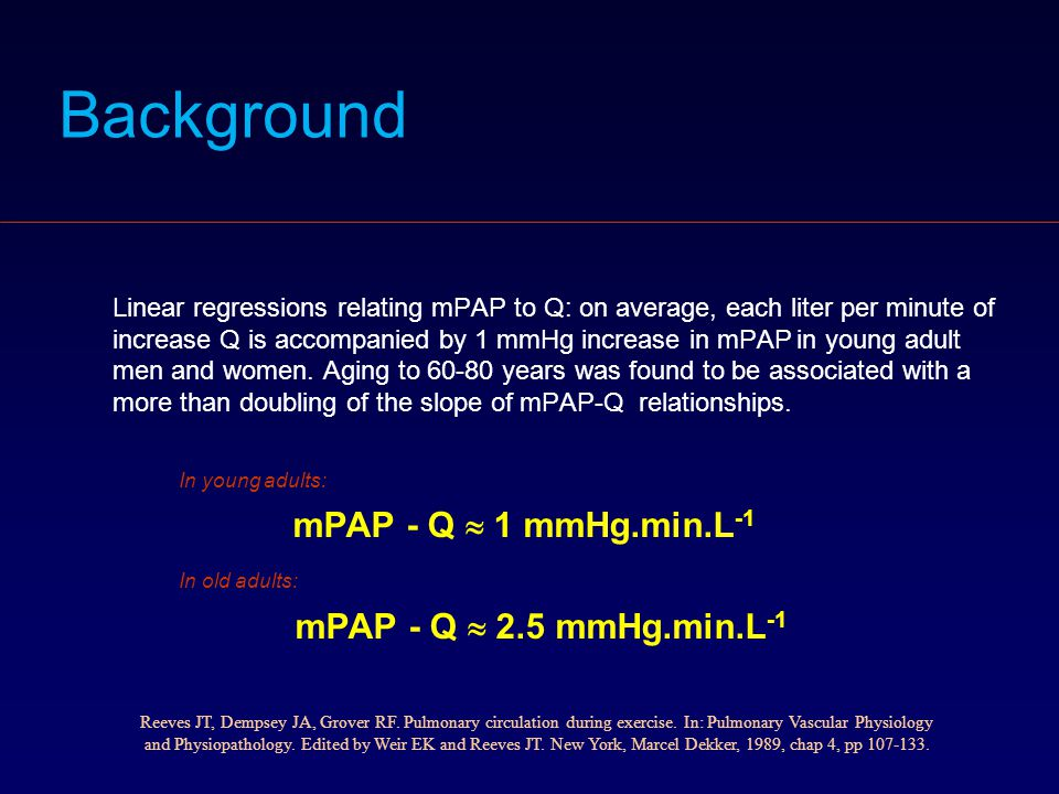 Background In old adults: mPAP - Q  2.5 mmHg.min.L-1