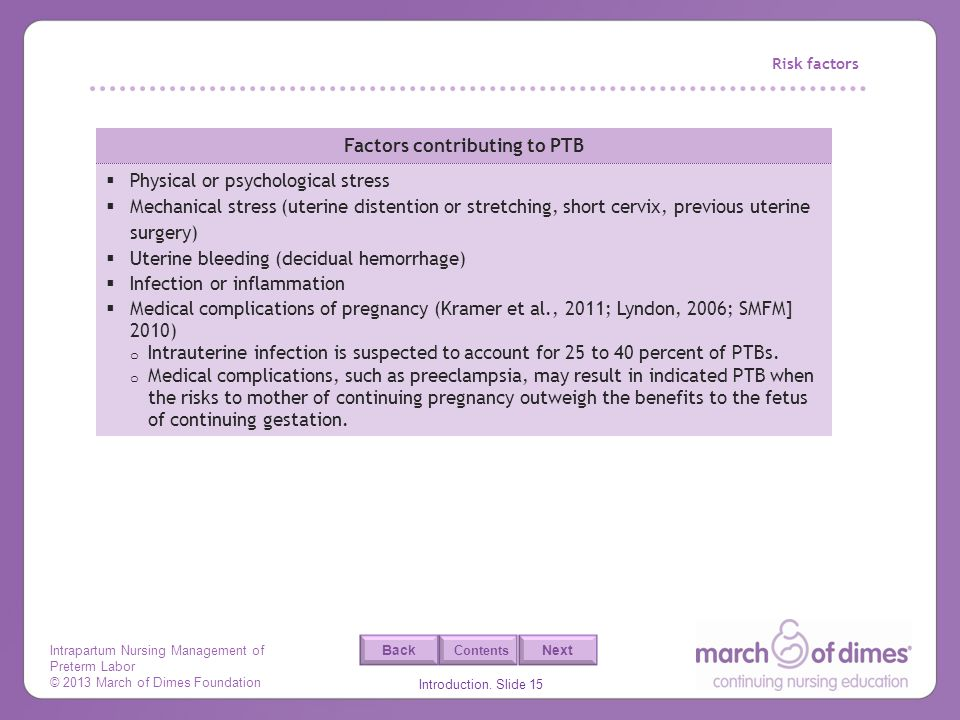 Factors contributing to PTB