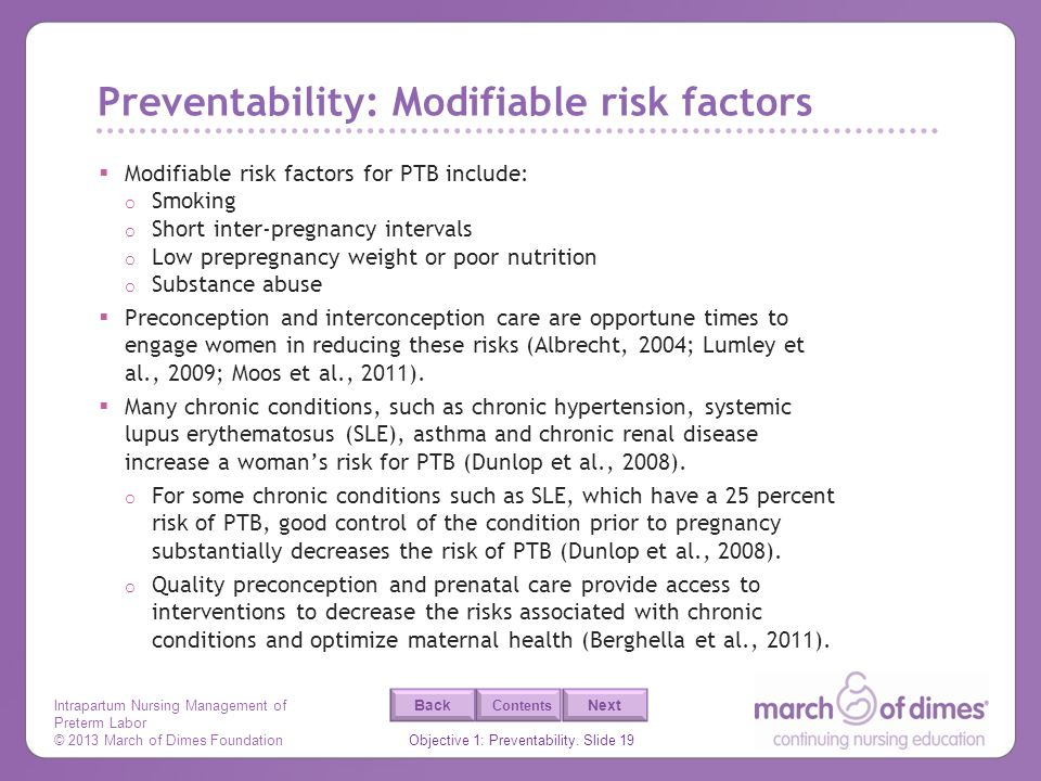 Preventability: Modifiable risk factors