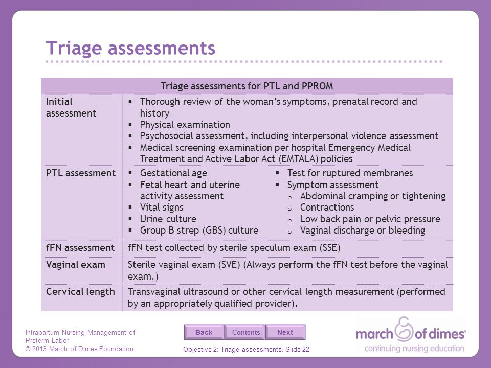Triage assessments for PTL and PPROM