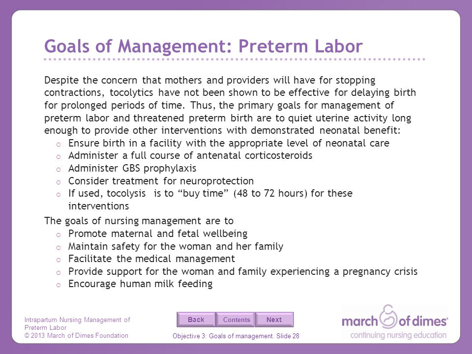 Goals of Management: Preterm Labor