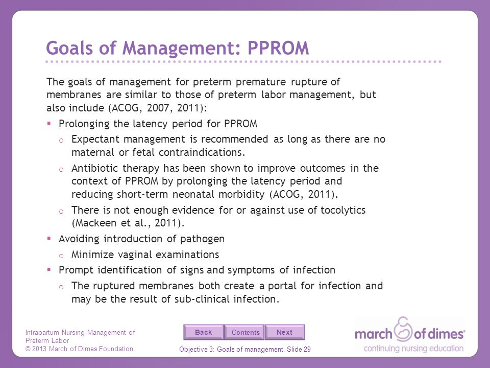 Goals of Management: PPROM