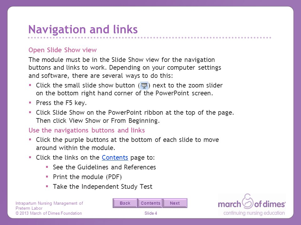 Navigation and links Open Slide Show view