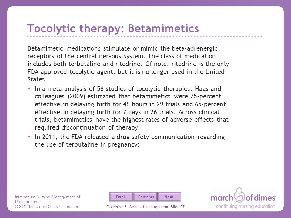 Tocolytic therapy: Betamimetics