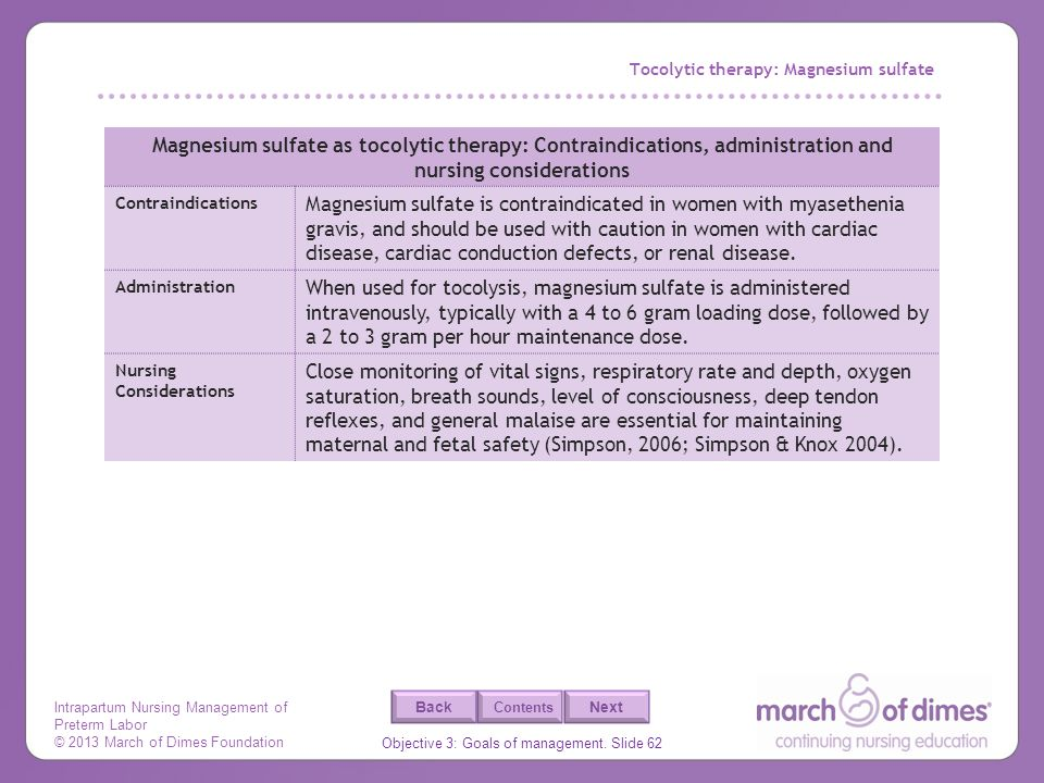 Tocolytic therapy: Magnesium sulfate