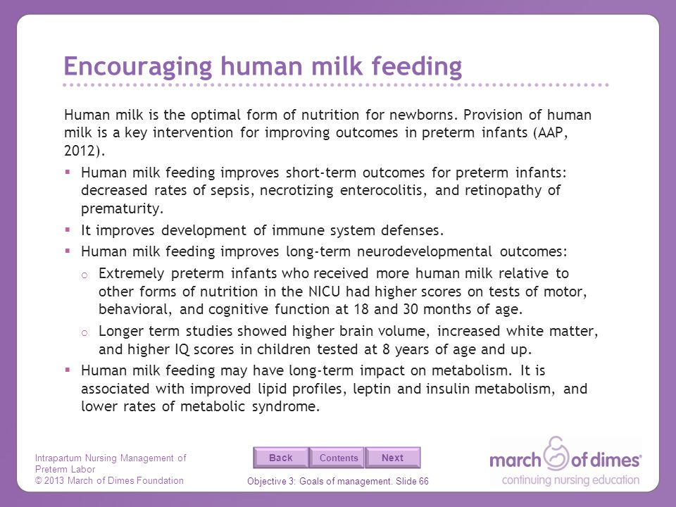 Encouraging human milk feeding