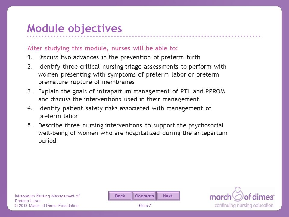 Module objectives After studying this module, nurses will be able to: