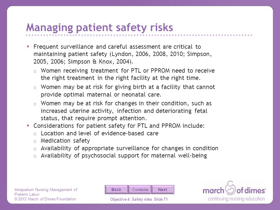 Managing patient safety risks