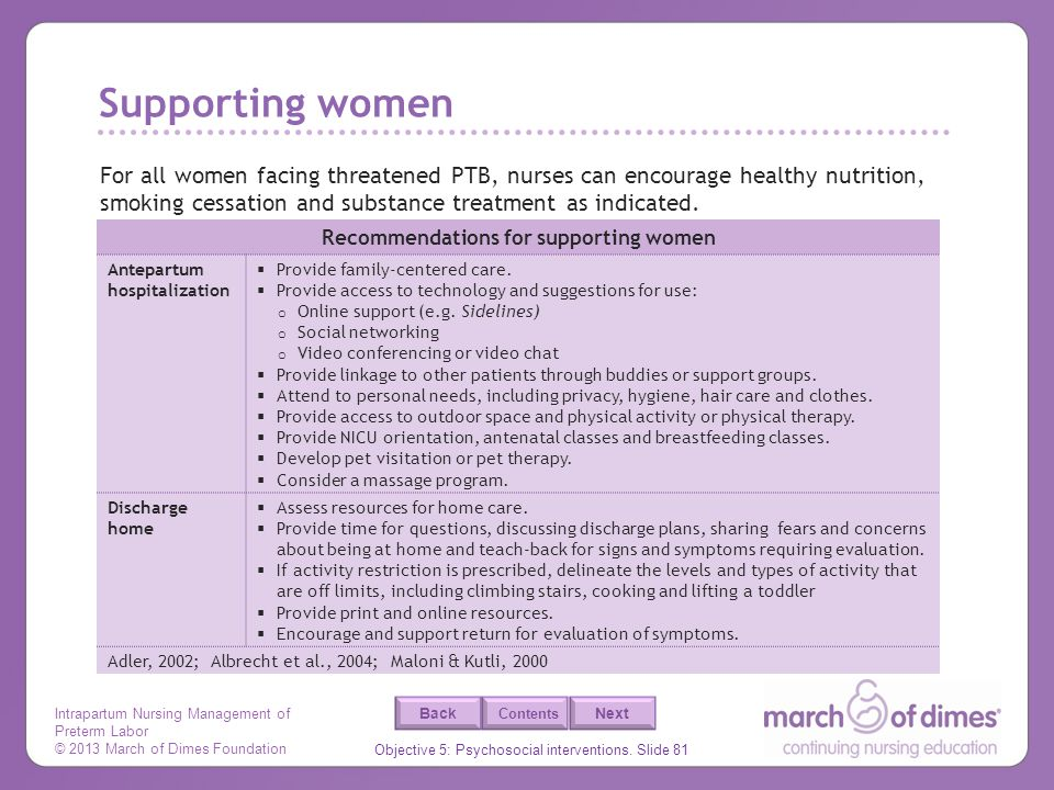 Recommendations for supporting women