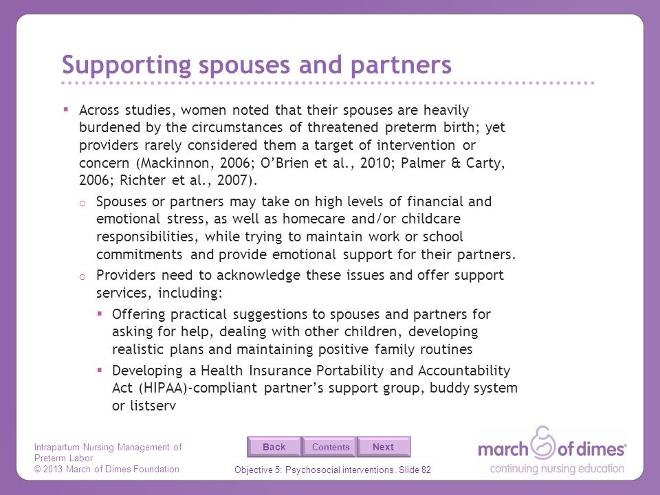 Supporting spouses and partners