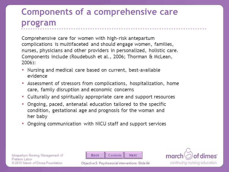 Components of a comprehensive care program