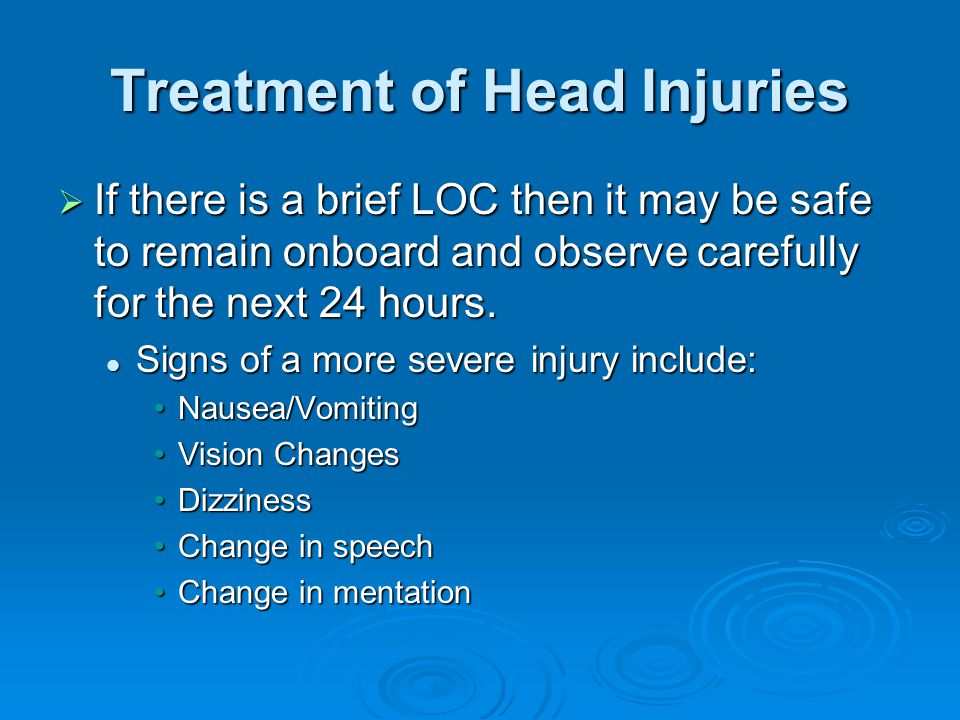 Treatment of Head Injuries