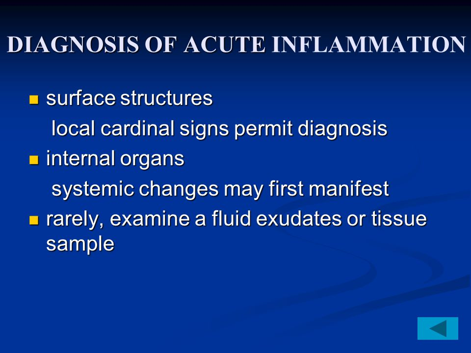 DIAGNOSIS OF ACUTE INFLAMMATION