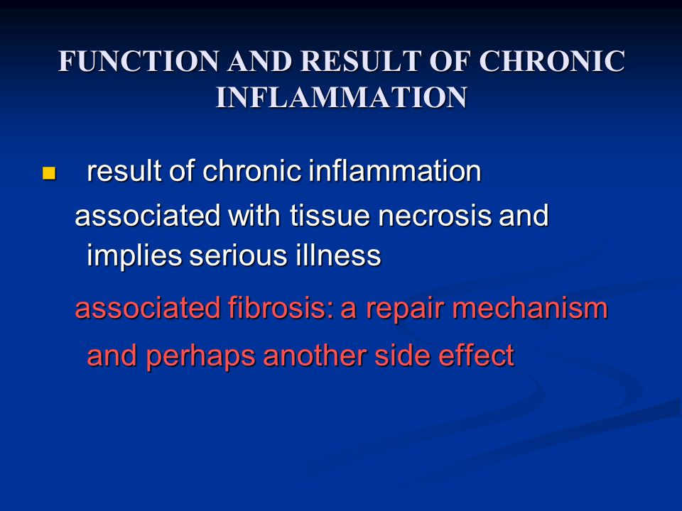 FUNCTION AND RESULT OF CHRONIC INFLAMMATION