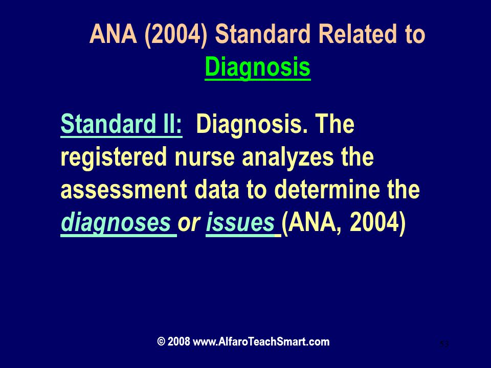 ANA (2004) Standard Related to Diagnosis