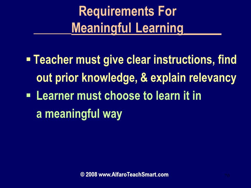 Requirements For ______Meaningful Learning______