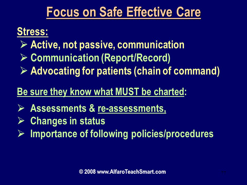 Focus on Safe Effective Care