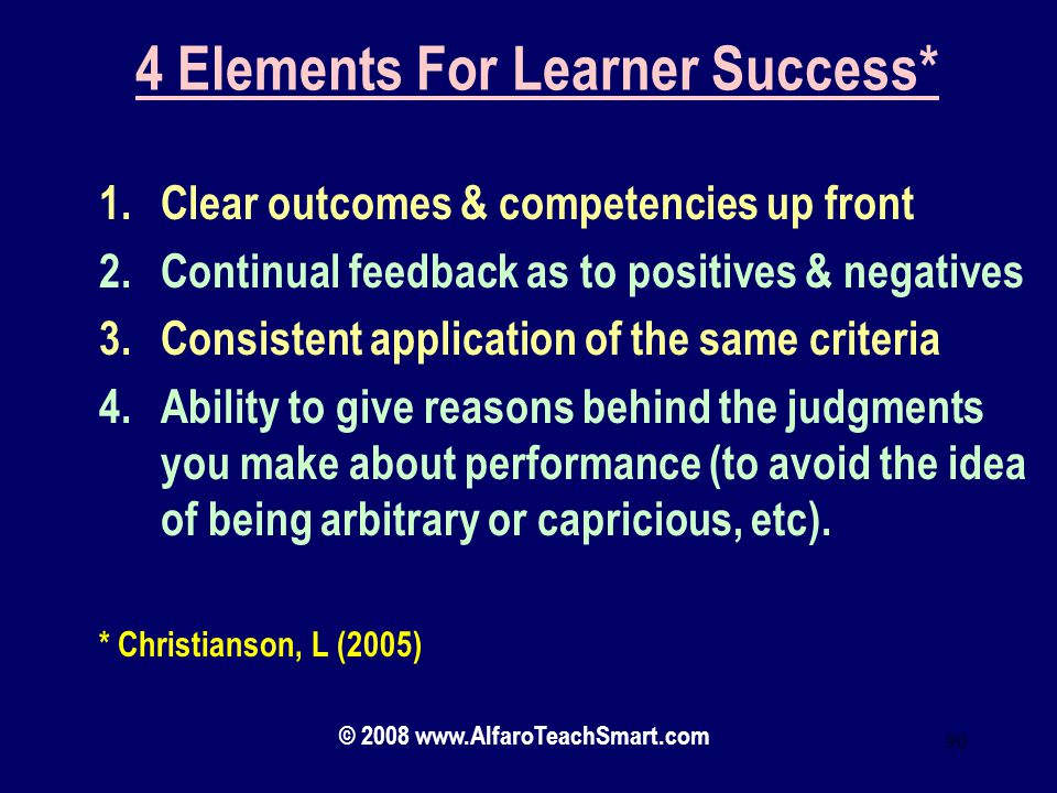 4 Elements For Learner Success*