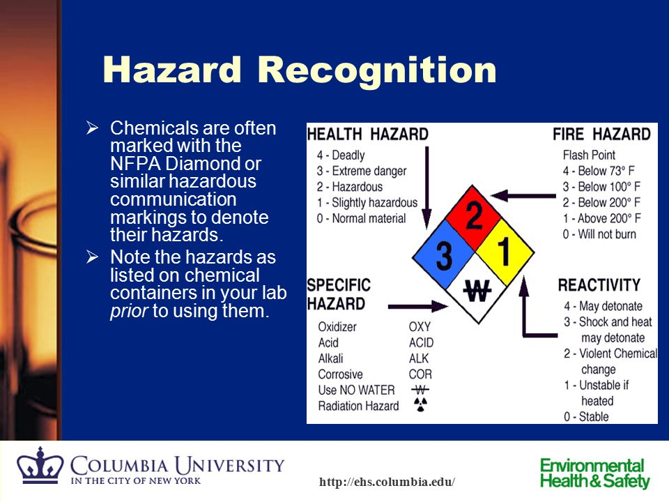 Hazard Recognition Chemicals are often marked with the NFPA Diamond or similar hazardous communication markings to denote their hazards.