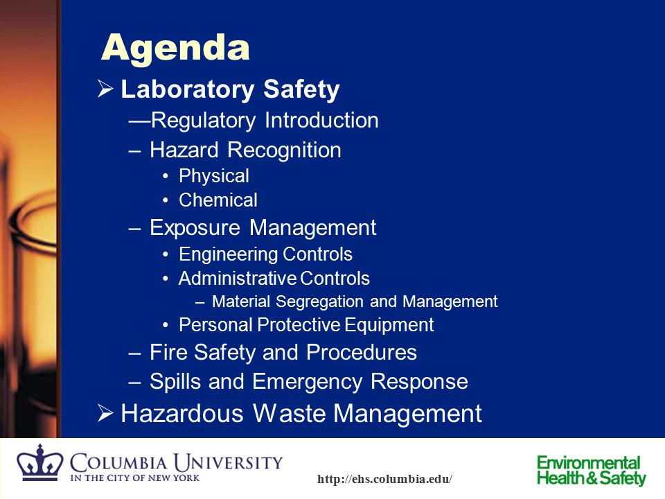 Agenda Laboratory Safety Hazardous Waste Management
