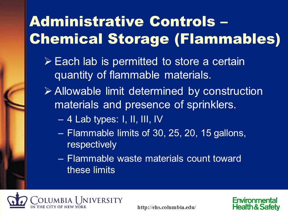 Administrative Controls – Chemical Storage (Flammables)
