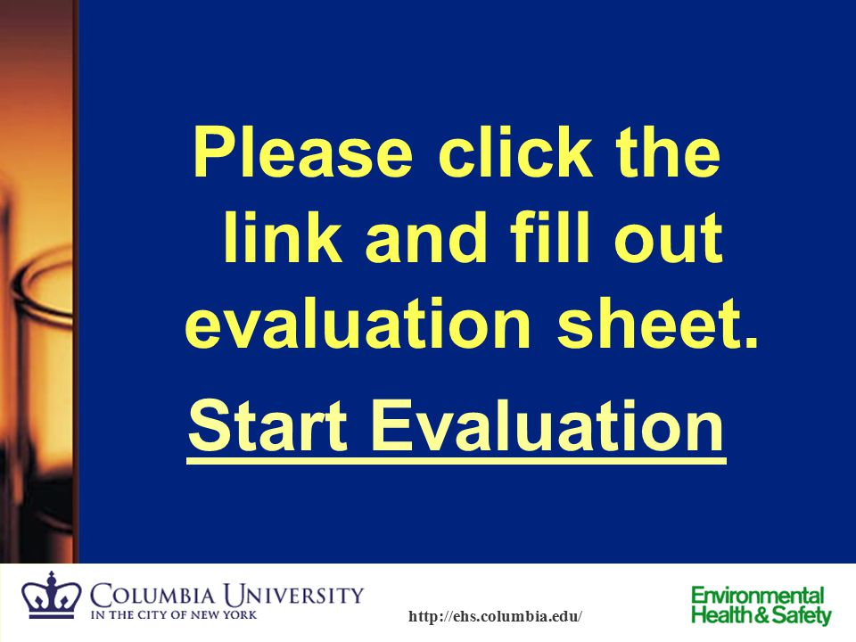 Please click the link and fill out evaluation sheet. Start Evaluation