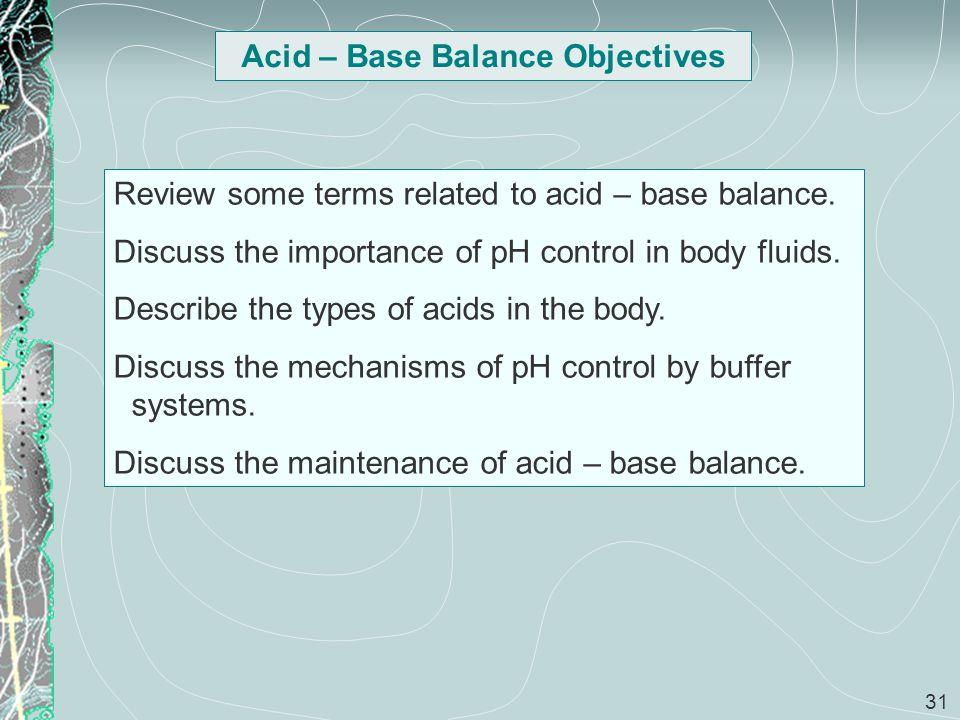Acid – Base Balance Objectives