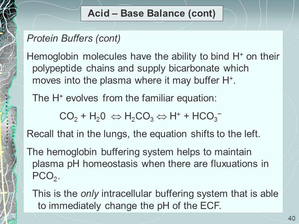 Acid – Base Balance (cont)