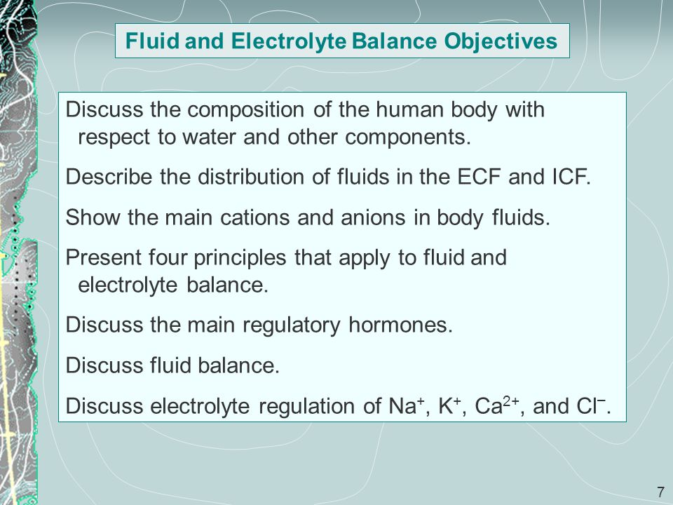 Fluid and Electrolyte Balance Objectives