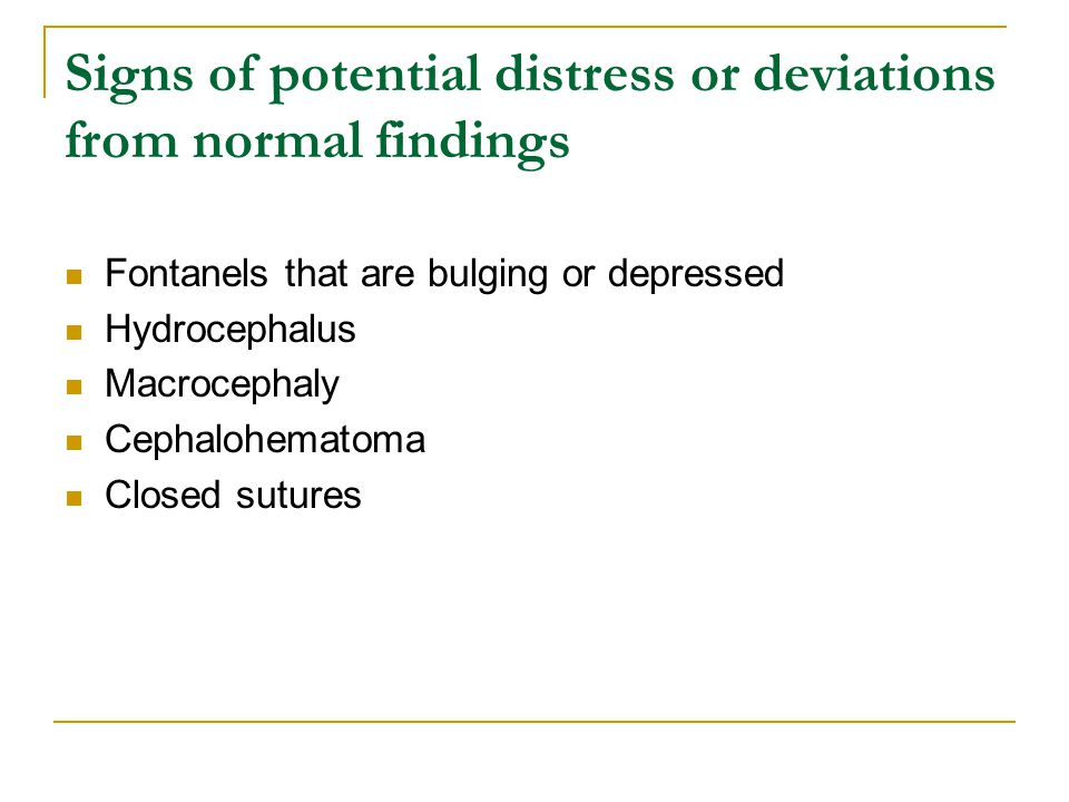 Signs of potential distress or deviations from normal findings
