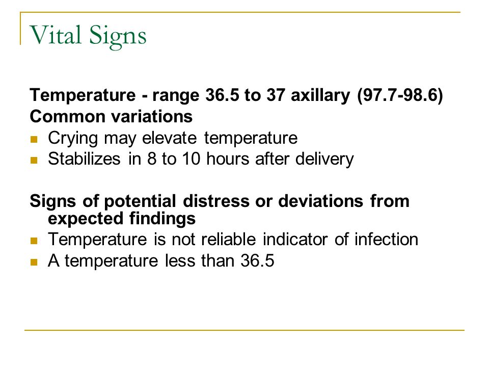 Vital Signs Temperature - range 36.5 to 37 axillary (97.7-98.6)
