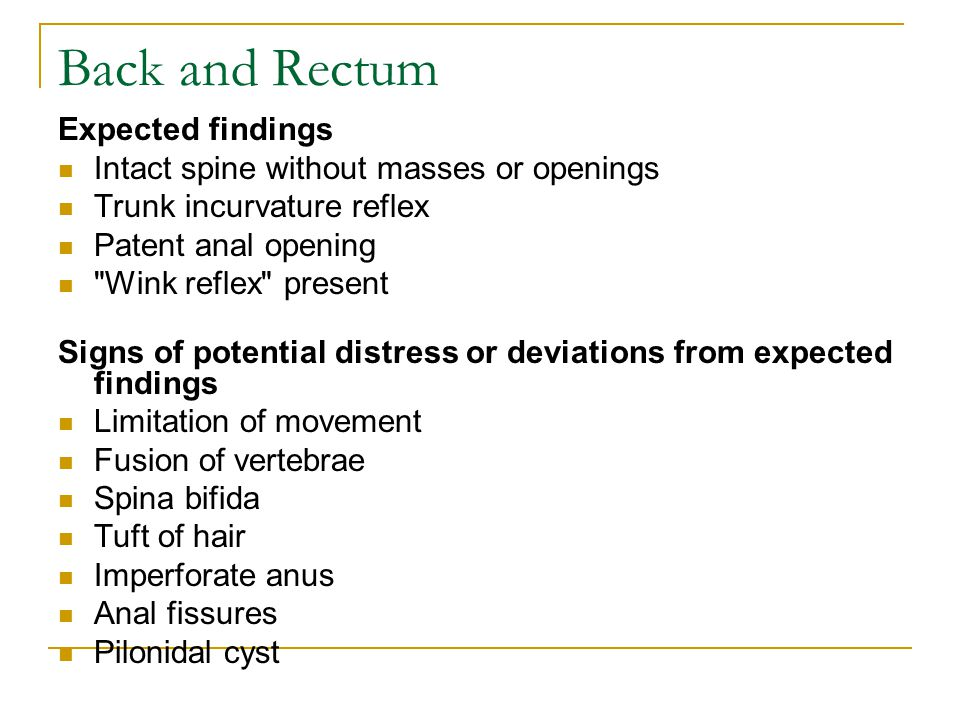 Back and Rectum Expected findings