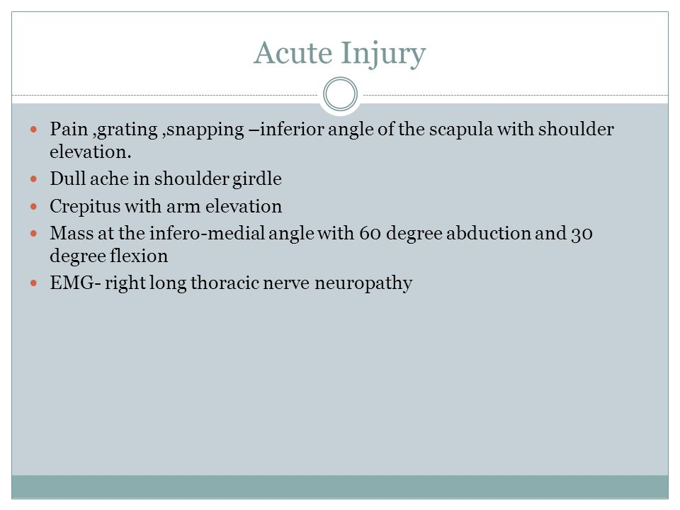 Acute Injury Pain ,grating ,snapping –inferior angle of the scapula with shoulder elevation. Dull ache in shoulder girdle.
