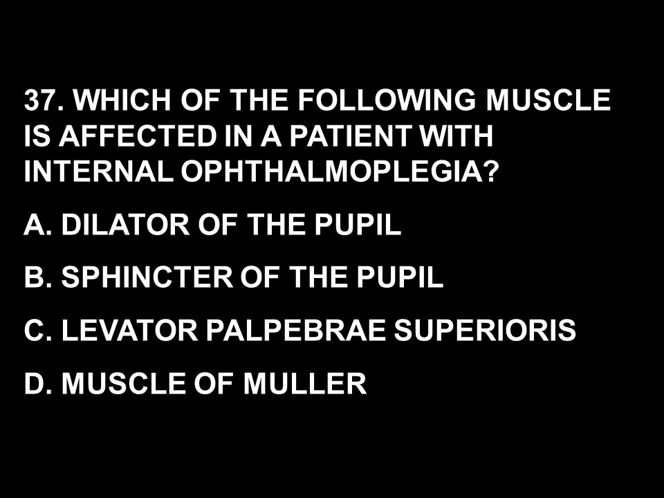 37. WHICH OF THE FOLLOWING MUSCLE IS AFFECTED IN A PATIENT WITH INTERNAL OPHTHALMOPLEGIA