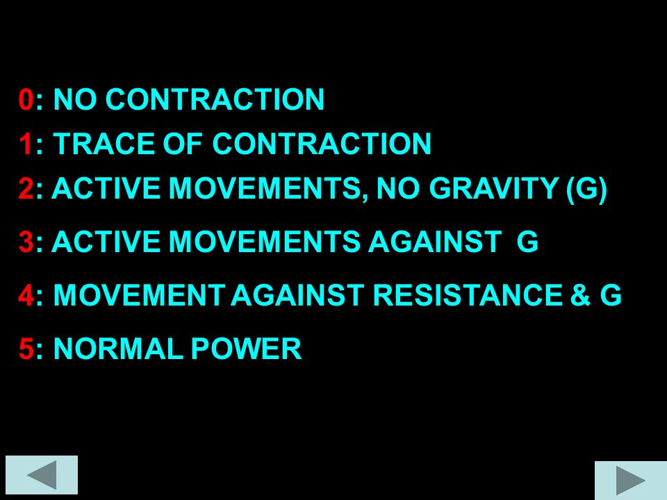 0: NO CONTRACTION 1: TRACE OF CONTRACTION. 2: ACTIVE MOVEMENTS, NO GRAVITY (G) 3: ACTIVE MOVEMENTS AGAINST G.
