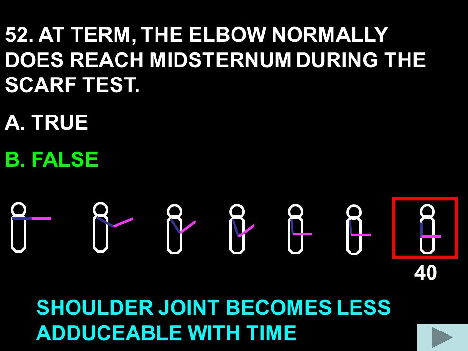 52. AT TERM, THE ELBOW NORMALLY DOES REACH MIDSTERNUM DURING THE SCARF TEST.