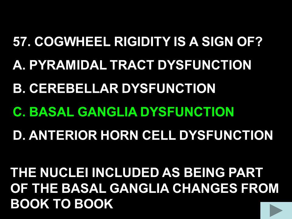 57. COGWHEEL RIGIDITY IS A SIGN OF