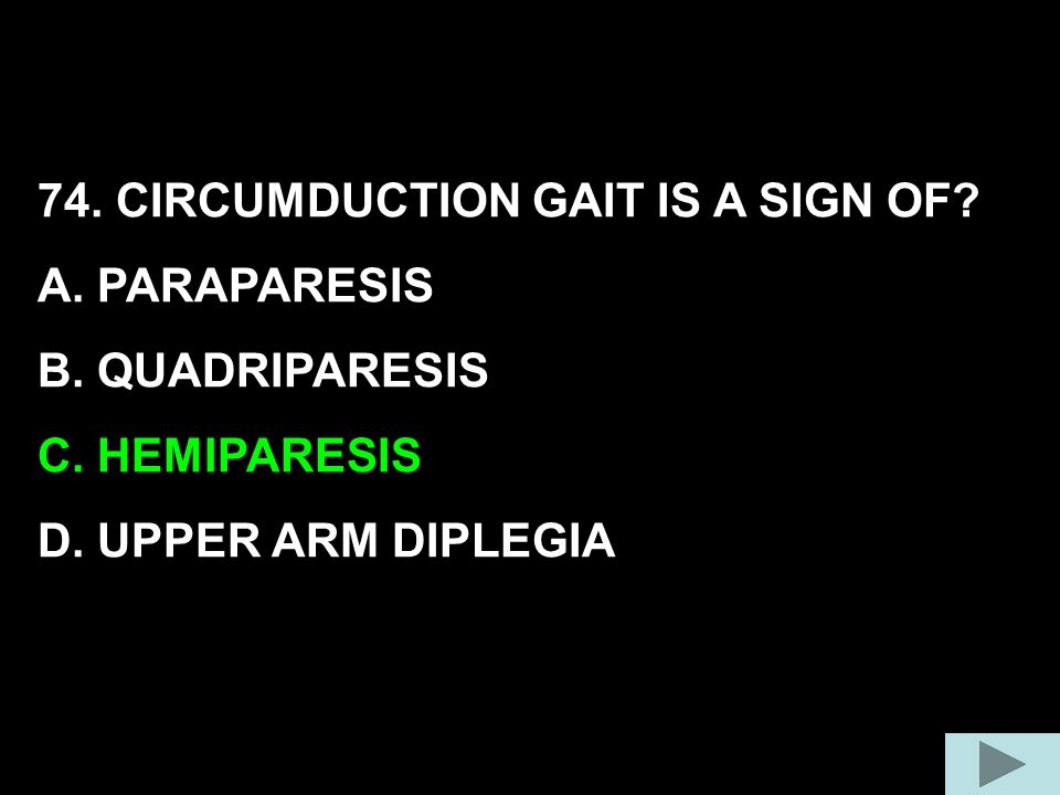 74. CIRCUMDUCTION GAIT IS A SIGN OF