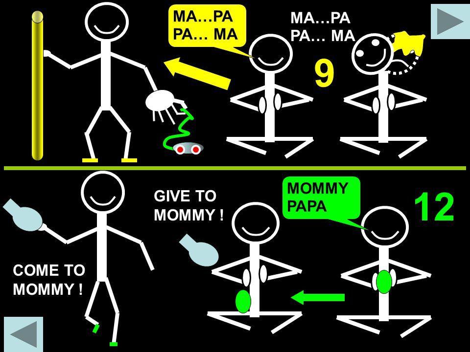 9 12 MA…PA MA…PA PA… MA PA… MA MOMMY GIVE TO MOMMY ! PAPA