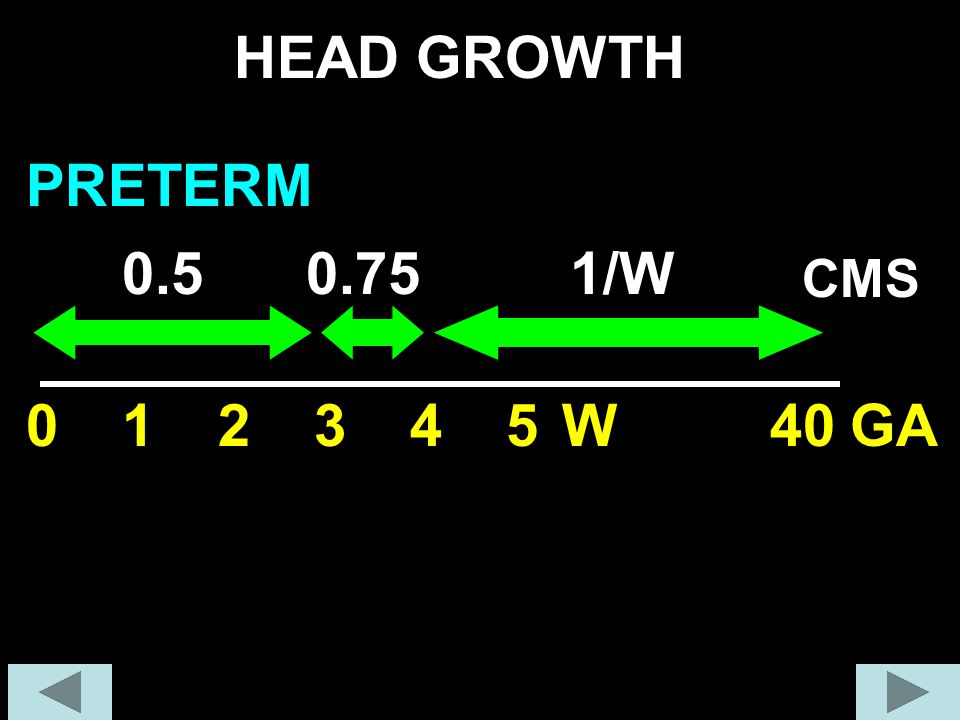 HEAD GROWTH PRETERM 0.5 0.75 1/W CMS 1 2 3 4 5 W 40 GA