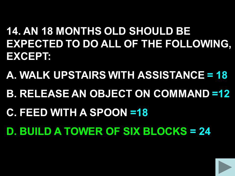 14. AN 18 MONTHS OLD SHOULD BE EXPECTED TO DO ALL OF THE FOLLOWING, EXCEPT: