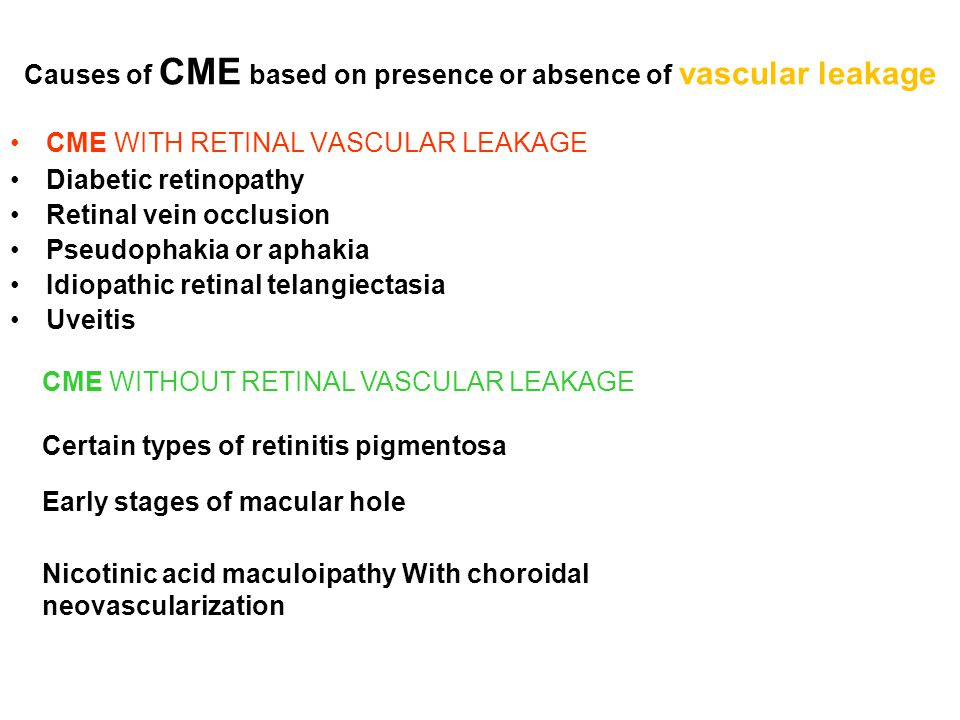 Causes of CME based on presence or absence of vascular leakage