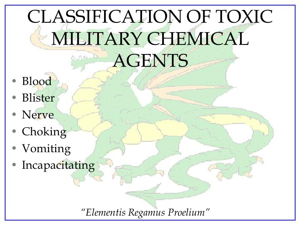 CLASSIFICATION OF TOXIC MILITARY CHEMICAL AGENTS