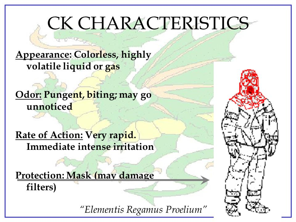 CK CHARACTERISTICS Appearance: Colorless, highly volatile liquid or gas. Odor: Pungent, biting; may go unnoticed.