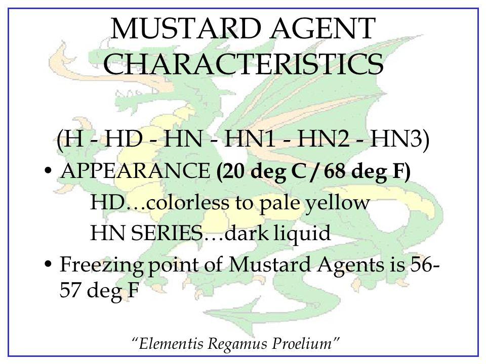 MUSTARD AGENT CHARACTERISTICS
