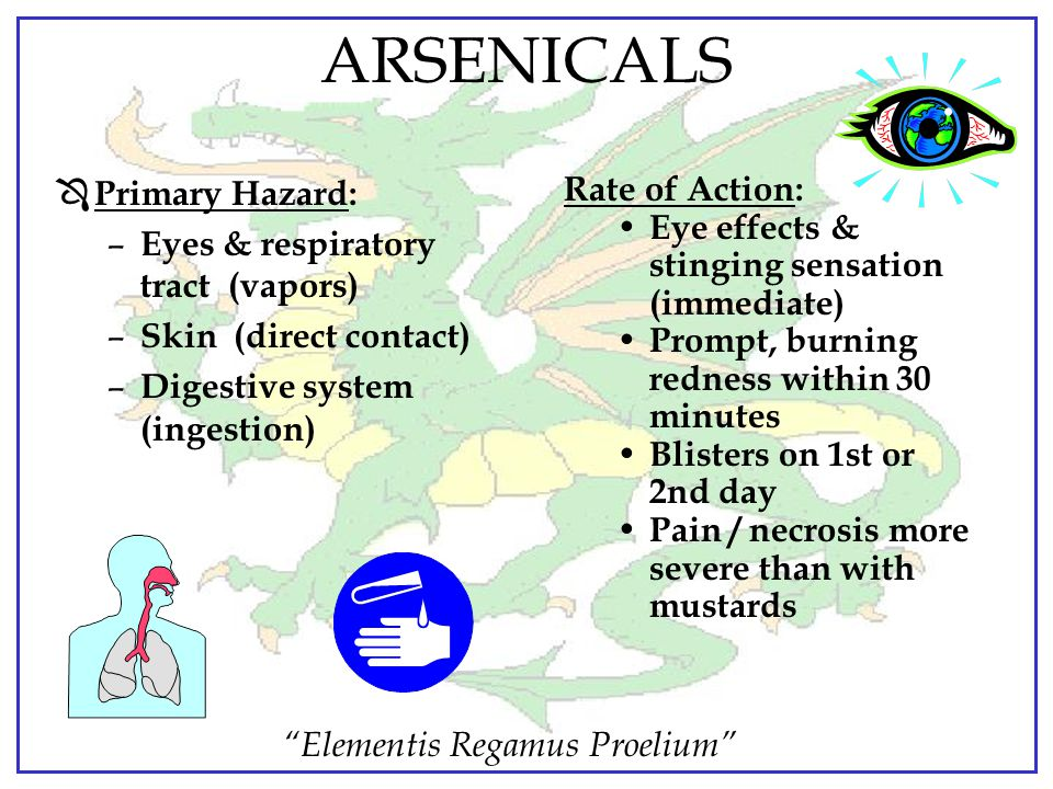 ARSENICALS Primary Hazard: Eyes & respiratory tract (vapors)