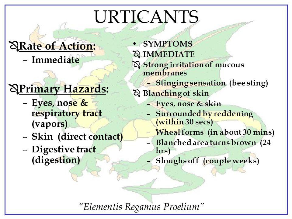 URTICANTS Rate of Action: Primary Hazards: Immediate