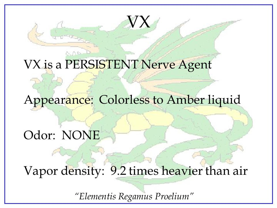 VX VX is a PERSISTENT Nerve Agent