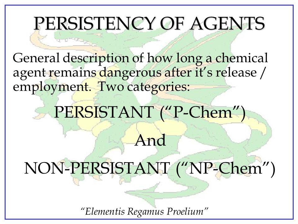 PERSISTENCY OF AGENTS PERSISTANT ( P-Chem ) And