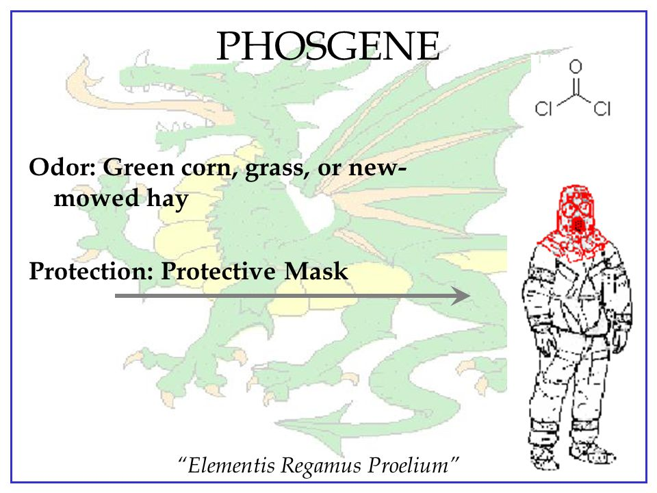 PHOSGENE Odor: Green corn, grass, or new-mowed hay
